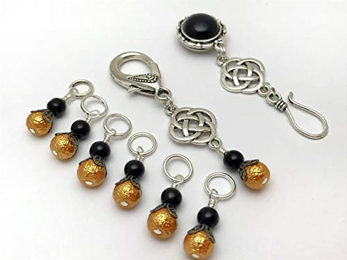 Celtic Knot Portuguese Knitting Pin & Stitch Marker Jewelry Set
