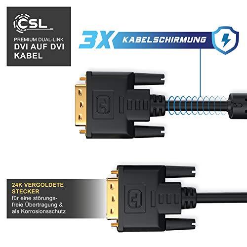 CSL – 2m DVI zu DVI Kabel | Dual Link 24+1 | vergoldete Kontakte | HDTV Auflösungen bis 2560×1600 | 2x Ferritkern | verzinnte OFC Kupferleiter | x.v.Color - 2