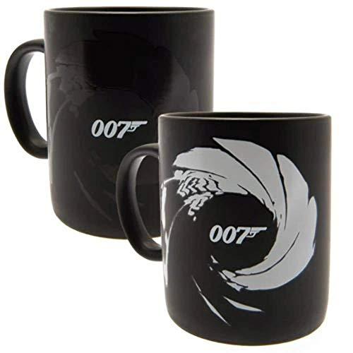 James Bond Tasse Thermoeffekt 007 Gun Barrel schwarz, bedruckt, aus Keramik, Fassungsvermögen ca. 315 ml.
