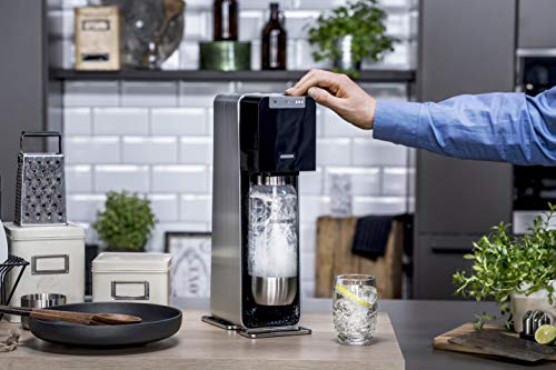 SodaStream Power Sparkling Water Maker black & silver with 2 x 1 l bottle & 60 l CO2 cylinder, 3 fizz levels, automatic & refillable, led light indicator