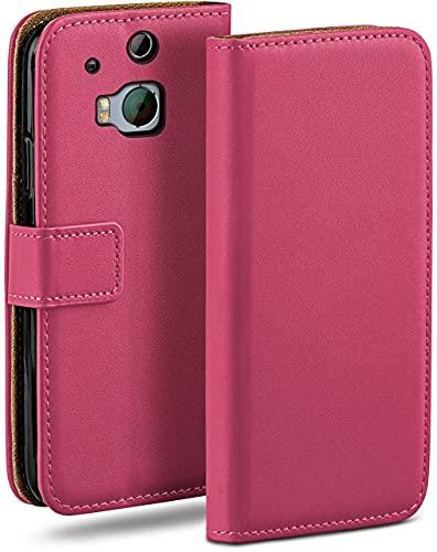 moex Klapphülle für HTC One M8 / M8s Hülle klappbar, Handyhülle mit Kartenfach, 360 Grad Schutzhülle zum klappen, Flip Hülle Book Cover, Vegan Leder Handytasche, Pink