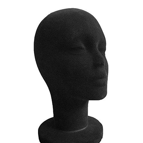 Manichino femmina/maschio, in polistirolo, testa con superficie in tessuto floccato, per cuffie, cappelli, parrucca, occhiali, espositore