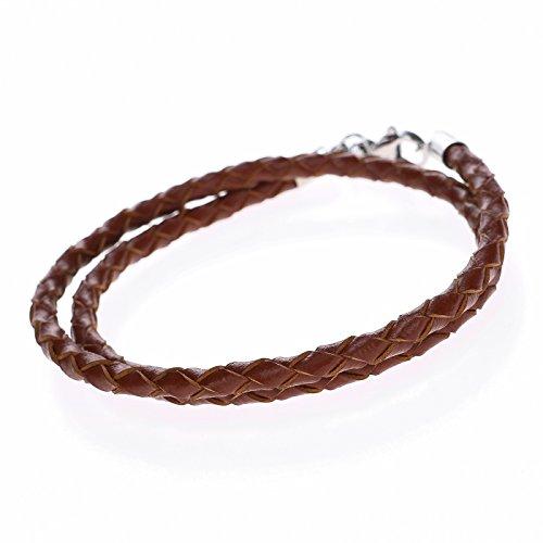 Autiga® Herren Damen Leder-Armband Leder-Halskette geflochten braun Edelstahl 3mm 4mm - viele Längen 17-80 cm braun 3 mm 50 cm