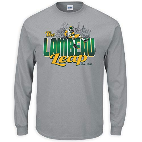 Nalie Sports Green Bay Football Fans. Lambeau Leap Gray T-Shirt (Sm-5X) (Long Sleeve, X-Large)