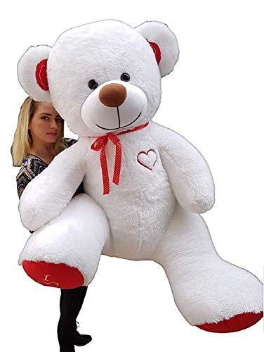 Teddybär Plüschbär Kuscheltier Stofftier Schmusebär Teddy Geschenkidee 190cm (weiß-rot)