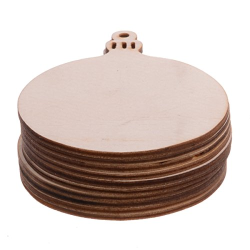 YEEQIN Package of 10 Unfinished Round Wood Christmas Ornaments Hanging Wooden DIY Crafts