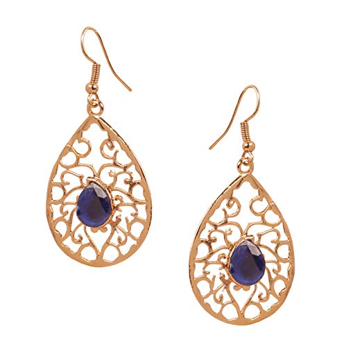NEW! Touchstone Indian Bollywood Beautifully Hand Peeled Metal Mesh Work Faux Blue Sapphire Ravishing Pear Shape Modern Designer Jewelry Light Weight Earrings In Gold Tone For Women.