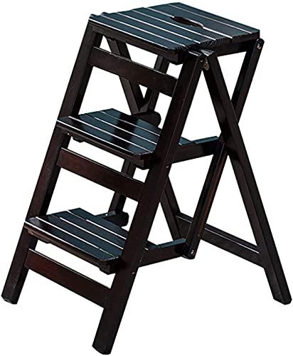 MUZIDP Taburete plegable de madera para escaleras, escaleras, escaleras, escaleras, escaleras, de madera maciza, natural, multifunción, con 3 escalones, para hogar, cocina, oficina, color negro