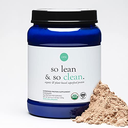 Ora Organic Vegan Protein Powder - 22g Plant Based Protein Powder for Women and Men   Keto Friendly, Gluten Free, Paleo, Dairy-Free, Gluten-Free, Soy-Free - Chocolate Flavor, 20 Servings