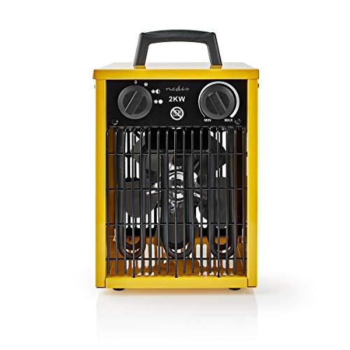 NEDIS Calefactor de Aire de Diseño Industrial Calefactor de Aire de Diseño Industrial - Termostato - 3 Configuraciones - 2000 W - Asa de Transporte - Amarillo Amarillo 1.50 m