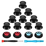 Koowod Upgraded 5 Pairs Replacement Analog Stick Joystick Thumbsticks Parts- Rubberized Top with Thumb Grips and Repair Screwdriver Kit for Playstation DualShock 4 PS4 Controller