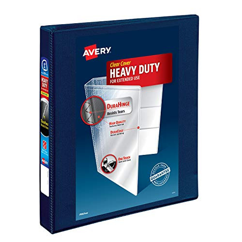 Avery Heavy Duty View 3 Ring Binder, 1 One Touch EZD Ring, Holds 8.5 x 11 Paper, 1 Navy Blue Binder (79809)
