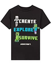 Minecraft Camiseta Niño, Ropa Niño Algodon 100%, Camisetas Gamers con Diseño Mob en Color Negro, Regalos para Niños y Adolescentes Edad 5-14 Años
