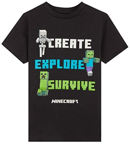 Minecraft Tshirt Jungen, T Shirt Jungs Kinder und Teenager, Creeper Design, Gamer Geschenk, 110-164 (Schwarz Create, 5-6 Jahre)