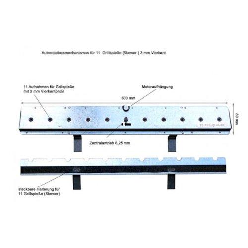 EPOS Nachrüstsatz Churrasco Spießgrill Antrieb für 11 Stück Vierkant-Spieße