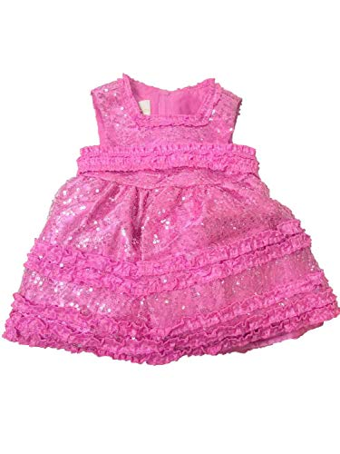 American Princess Infant Girls Sparkly Pink Satin Sequin Party Dress