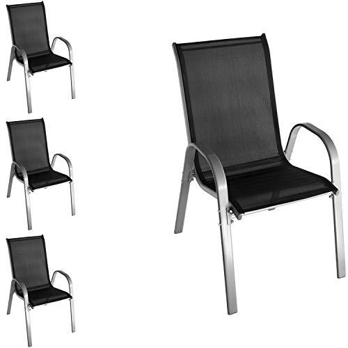 Wohaga Lot de 4 chaises empilables avec revêtement textile, structure en acier revêtu par pulvérisation, gris/noir, empilables