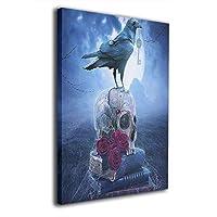 Skydoor J パネル ポスターフレーム 頭蓋骨とカラス インテリア アートフレーム 額 モダン 壁掛けポスタ アート 壁アート 壁掛け絵画 装飾画 かべ飾り 30×20