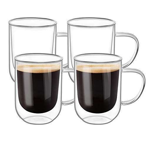 ComSaf Aislamiento Térmico Vaso de Vidrio con Mango para Taza Talla Mediana Vidrio Paquete de 4, Jarras de Cerveza Doble Pared Vasos para Cafe Tazas con Mango para Espresso Latte Cappuccino