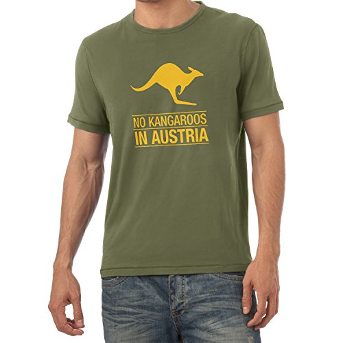 Texlab Herren No Kangaroos in Austria T-Shirt, Oliv, XXL
