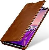 StilGut Book Hülle kompatibel mit Samsung Galaxy S10 Plus/S10+ Hülle aus Leder zum Klappen, Klapphülle, Handyhülle, Lederhülle, dünn - Cognac