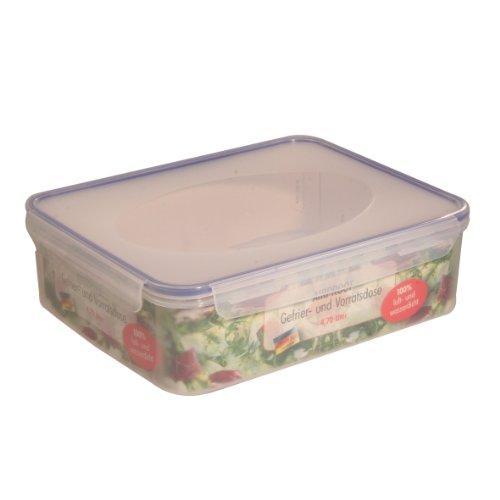 axentia Gefrier-Vorratsdose in Transparent, eckige Butterbrotdose Airproof, temperaturbeständige Brotdose mit 4 praktischen Klapplaschen, Einfrierbare Aufbewahrungsbox mikrowellengeeignet, ca. 4,7 l