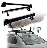 HTTMT Kayak- 32 Inches Rooftop SnowRack Plus Ski Rack Compatible with Cars Fits 6 Pairs Skis or Fits 4 Snowboard [P/N: US-Kayak-SKI-BK]