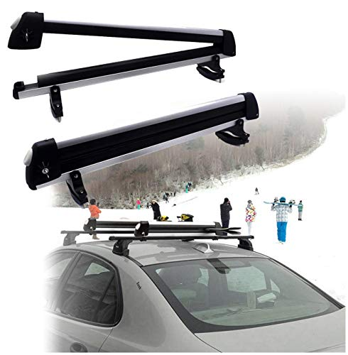 HTTMT Kayak- 32 Inches Rooftop SnowRack Plus Ski Rack Compatible with Cars Fits 6 Pairs Skis or Fits...