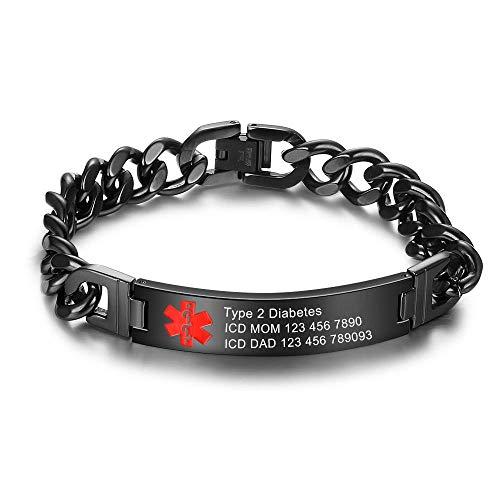 Gaosh ID de Alarma de Grabado Personalizado Unisex de 19' Pulsera de Acero Inoxidable Pulsera elástica Brazalete con Emblema médico Grabado 10mm para Hombres y Mujeres (Black, Acero Inoxidable)