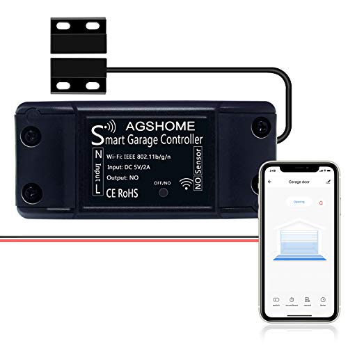 AGSHOME Smart Garage Door Opener Remote, Wireless Wi-Fi Garage Door Controller, APP Control,Compatible with Alexa, Google Assistant, Siri, No Hub Needed
