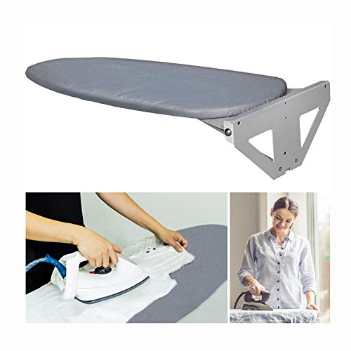Lehom Wall-Mounted Ironing Board with Heat Resistant Cover 37.4in Fold Drop Down Laundry Iron Boards w/Wall Fixing Plate Space Saving for Home Apartment Grey