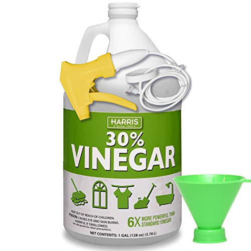 30% Pure Vinegar, Extra Strength by Harris with Trigger Sprayer and Funnel (Gallon)