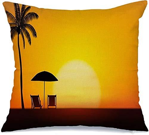 Funda de Cojine Throw CojínEspacio Verano Atardecer Palmera Sombrilla Resort Sillas de playa Hawaii Tropical Island On Nature Phuket Fundas para almohada 45X45CM
