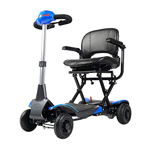 Rubicon Foldable Mobility Scooter Extreme 4-Wheel Sport Heavy Duty Long Range Automatic for Adults, All Terrain Zero Turn Maneuverability Compact Mobility Power Scout, Extended Battery (Blue)