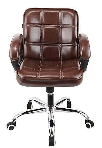 Oakcraft Medium Back Leather Revolving Chair/Computer Chair/Swivel Tilt Mechanism Chair/Brown Office Executive Chair