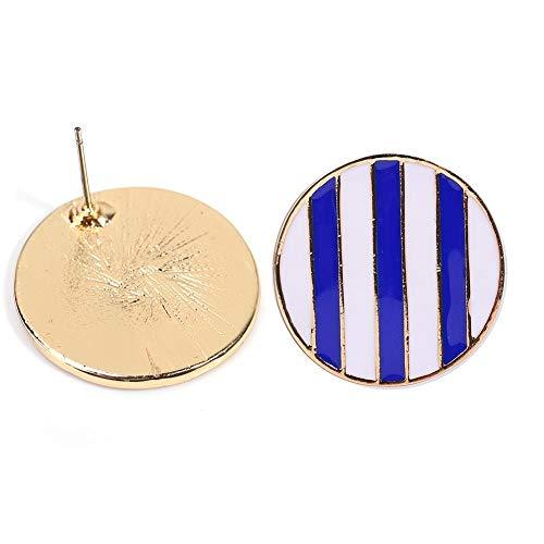 Pendientes redondos de moda, pendientes de rayas de color azul marino, bisutería con clip de oreja para damas, pendientes con diseño geométrico hipoalergénico para oídos sensibles (1#)