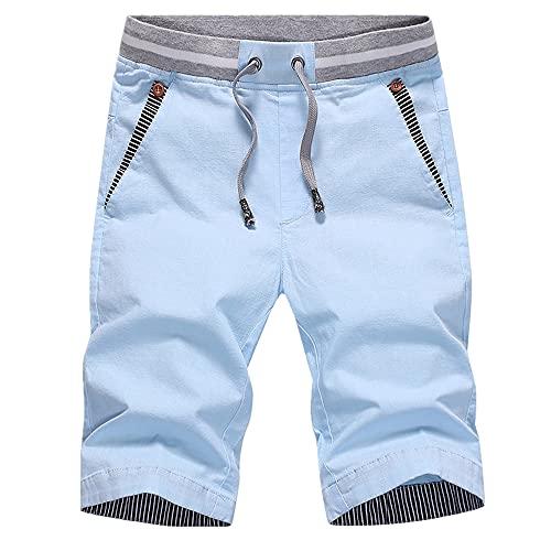 Pantalones cortos de los hombres de verano casual de algodón estilo masculino cordón elástico cintura