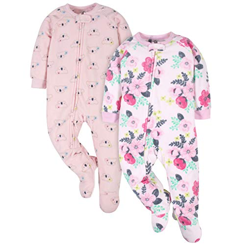 Gerber Baby Girls' 2-Pack Blanket Sleeper, White Flowers & Pink Koalas, 12 Months