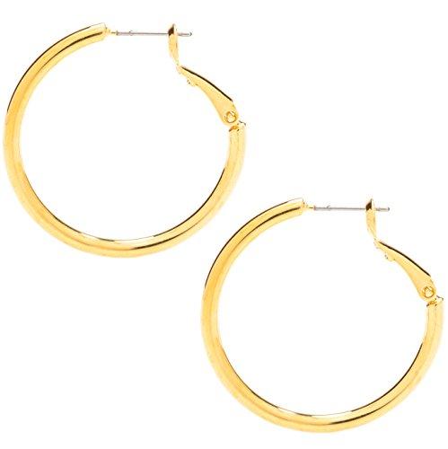 Ohrringe Medium, 24K Gold über Bronze - Premium Mode-Schmuck für Frauen - Hypoallergen, sicher für die meisten Ohren - 1,25 Zoll - Stylische Ohrringe für Damen (yellow-gold-plated-bronze)