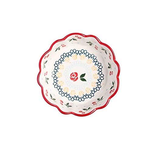 Kyman Red Home Creative - Cuenco de cerámica pintado a mano, diseño de cereza, color ciruela, de cerámica, creativo, irregular, plato plano, apilable, fácil de limpiar