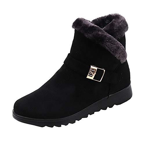 Rawdah Botas de Nieve Mujer Botas Mujer Invierno Botines de Moda de Invierno para Mujeres además de Botas de Nieve Planas de cuña con Parte de Terciopelo Zapatos Mujer Plataforma