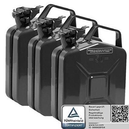 Oxid7 3X Benzinkanister Kraftstoffkanister Metall 5 Liter schwarz mit UN-Zulassung - TÜV Rheinland Zertifiziert - Bauart geprüft - für Benzin und Diesel