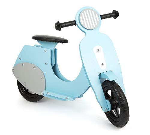 """small foot 11979 Laufrad Motorroller \""""Bella Italia\"""" aus Holz, mit leiser Gummibereifung, für Kinder ab 3 Jahren (blau)"""