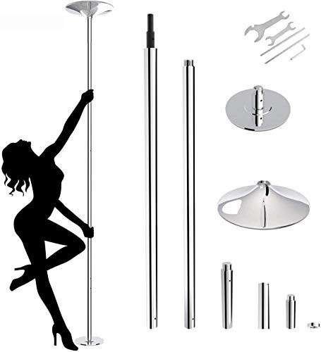 FITORON Dancing Pole 45mm Spinning Static Stripper Pole for Home Portable Removable Pole Kit for Beginner Fitness Exercise Dance Home Pub Party Gym