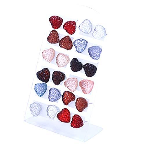 Yosemite 12 pares de pendientes de tuerca para mujeres y niñas, diseño de corazón con forma de abrigo, hipoalergénico, pendientes de piercing, accesorio de joyería – varios colores de corazón