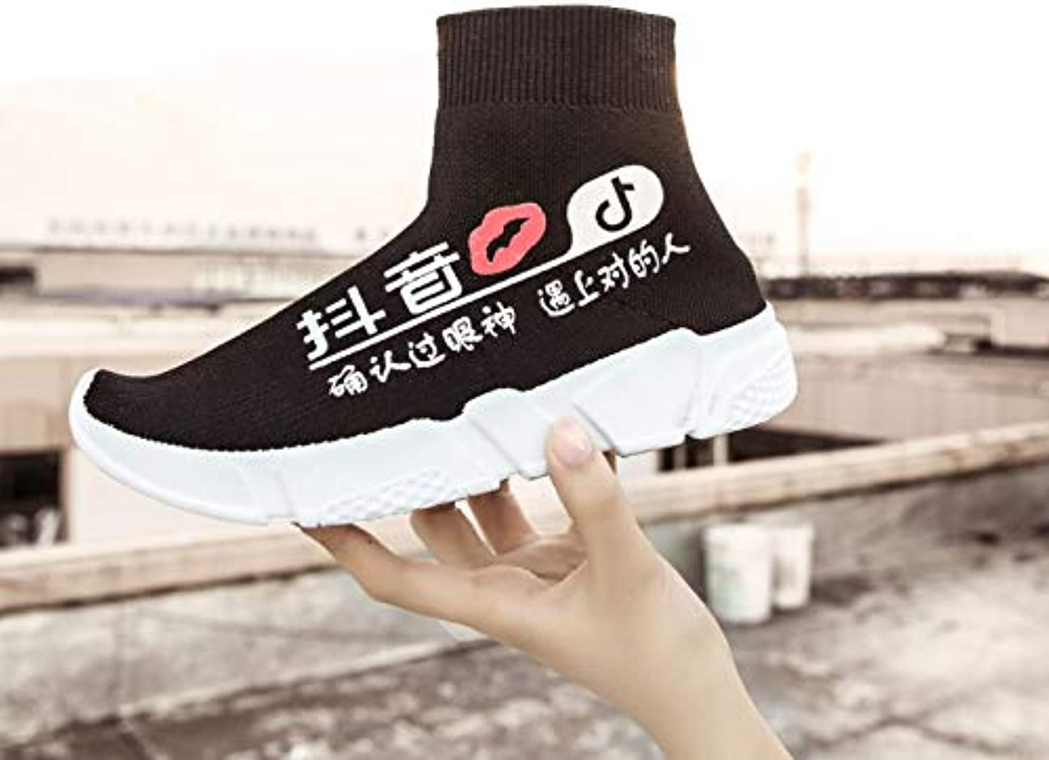 HCBYJ Socks shoes Summer men's shoes high to help socks shoes men's mesh shoes breathable shoes shoes net shoes stretch cloth shoes comfortable socks shoes