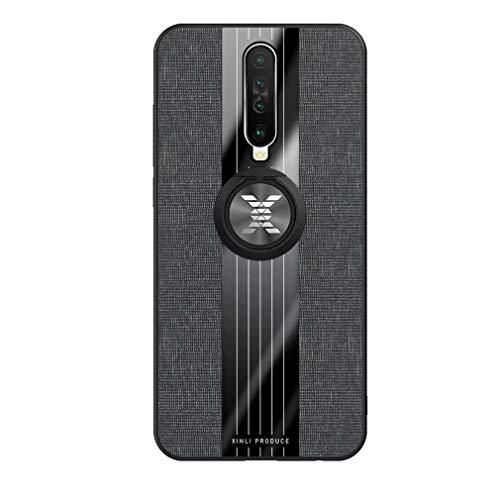 Ttimao Kompatibel mit Xiaomi Redmi K30 Hülle 360 ° Drehringständer Ultra Dünn Stoff strukturiertes Muster Schutzhülle+1*Displayschutzfolie Anti-Kratz Handyhülle-Schwarz