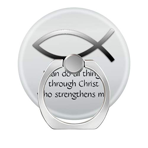 LoveStand-Cell Phone Ring Holder 360 Degree Finger Ring Stand for Smartphone Tablet and Car Mount-Christian Jesus Fish with Your Custom Bible Verse Matte