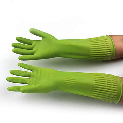 AINIYF Guantes para el hogar, guarnición de algodón de vinilo sin látex Guantes antideslizantes con forma de remolino para lavar la ropa, lavar la ropa 1 pares (verde) / (15 pulgadas)