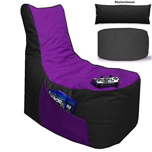 Sitzsack 3er Set Big Gamer Sessel mit EPS Sytropor Füllung - Rückenkissen - Hocker Sitzsäcke Sessel Kissen Sofa Sitzkissen Bodenkissen (Big Gamer Sitzsack 3er Set 2-farbig, Schwarz - Lila)